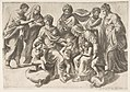 The Holy Kinship, in thecentre the Christ Child takes a bird given to him by the infant John the Baptist MET DP812436.jpg