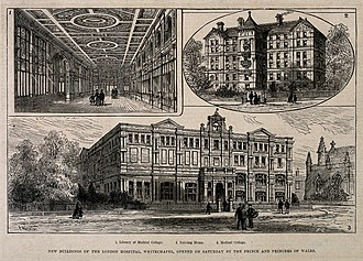 Barts and The London School of Medicine and Dentistry - 1877 wood engraving of the London Hospital Medical College