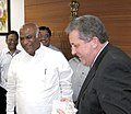 The Minister for Tertiary Education, Skills, Jobs and Workplace Relations, Australia, Senator Chris Evans meeting the Union Minister for Labour and Employment, Shri Mallikarjun Kharge, in New Delhi on August 01, 2011.jpg