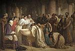 Fatwa Oran ini diberikan dalam konteks pemaksaan agama Katolik terhadap umat Islam di Spanyol. Lukisan menunjukkan pembaptisan massal umat Islam di Granada oleh Kardinal Cisneros.