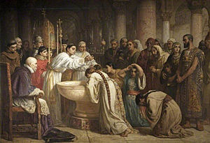 Treaty of Granada (1491) - Forced conversions under Francisco Jiménez de Cisneros were seen as violations of the treaty and the main reason for the later rebellions by the Muslim population. Painting by Edwin Long