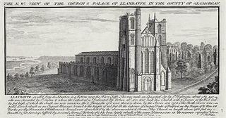 The N. W. view of the church & palace of Llandaffe in the county of Glamorgan