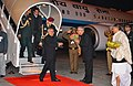 The President, Shri Pranab Mukherjee being received by the Governor of West Bengal, Shri M.K. Narayanan, on arrival at NSCBI Airport, in Kolkata on January 02, 2013.jpg