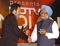 The Prime Minister, Dr. Manmohan Singh being presented the Leader of the Year Award by the President, NDTV, Dr. Prannoy Roy, at the 'NDTV Indian of the Year Awards Function', in New Delhi on January 17, 2008.jpg