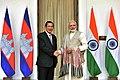 The Prime Minister, Shri Narendra Modi with the Prime Minister of the Kingdom of Cambodia, Mr. Samdech Akka Moha Sena Padei Techo Hun Sen, at Hyderabad House, in New Delhi on January 27, 2018 (1).jpg