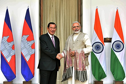 Prime minister Hun Sen with Indian prime minister Narendra Modi in New Delhi, 27 January 2018 The Prime Minister, Shri Narendra Modi with the Prime Minister of the Kingdom of Cambodia, Mr. Samdech Akka Moha Sena Padei Techo Hun Sen, at Hyderabad House, in New Delhi on January 27, 2018 (1).jpg