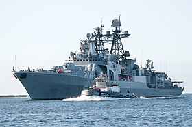 The Russian Navy Udaloy-class destroyer RFS Admiral Panteleyev arrives at Joint Base Pearl Harbor-Hickam to participate in the Rim of the Pacific exercise 2012. (7487834270).jpg