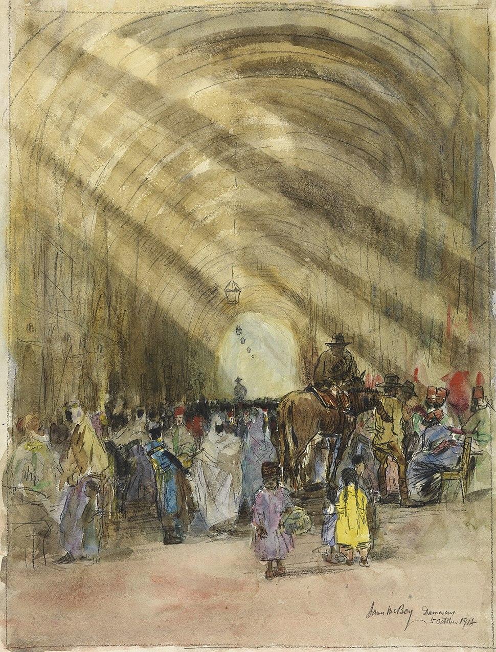 The Silk Bazaar, Damascus - Australians buying goods Art.IWMART1564