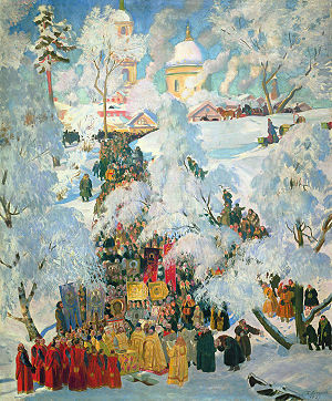 Holy water in Eastern Christianity - Great Blessing of Waters (painting by Boris Kustodiev).