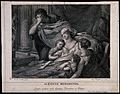 The dying Alcestis is surrounded by her family. Engraving by Wellcome V0042283.jpg
