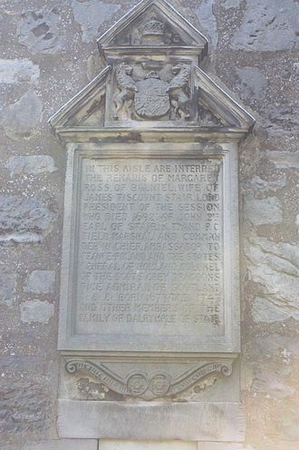 Kirkliston - Memorial to John Dalrymple, 2nd Earl of Stair on the wall of the Stair Aisle