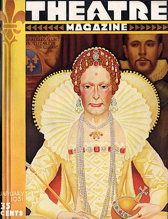 Elizabeth the Queen (play) - Illustration of Lynn Fontanne and Alfred Lunt on the cover of Theatre Magazine (January 1931)