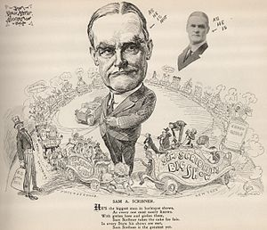 Columbia Amusement Company - 1911 cartoon depicting Sam A. Scribner and the Columbia Wheel