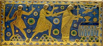 Vitreous enamel - The murder of Thomas Becket, detail from a reliquary in champlevé enamel, Limoges
