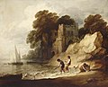 Thomas Gainsborough (1727-1788) - Rocky Coastal Scene with a Ruined Castle, Boats and Fishermen - 515450 - National Trust.jpg