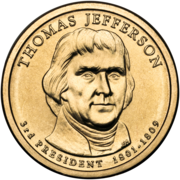 US $1 coin bearing full face engraving of Jefferson