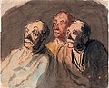 Three Attentive Spectators by Honore Daumier, pen and ink with watercolor.jpg
