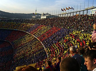 Supporters of FC Barcelona - Barcelona supporters during a match at Camp Nou.