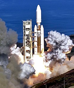 A Titan IV rocket lifts off from Space Launch Complex 4 East at Vandenberg AFB on 19 October 2005.