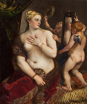 Rokeby Venus - Titian's Venus with a Mirror, c. 1555, is an early example of Venus depicted at her toilet with Cupid. In this painting, Venus sits upright.