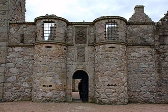 Tolquhon Castle - Gatehouse, showing unusual gun ports