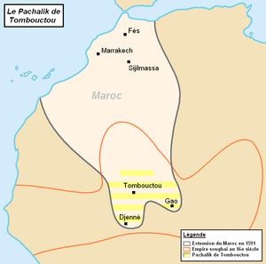 Pashalik of Timbuktu - Map of the Pashalik of Timbuktu (striped) as part of Morocco, late 16th century