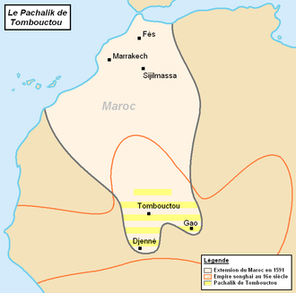 History of Mali - Pashalik of Timbuktu (yellow-striped) as part of the Saadi dynasty of Morocco, c. 1591