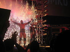 Two adult males posing on an entrance ramp at a professional wrestling event with fireworks igniting behind them.