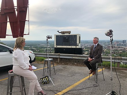 Senator Tommy Tuberville being interviewed outside at WBRC in 2021.