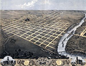Topeka, Kansas - 1869 bird's eye illustration of Topeka