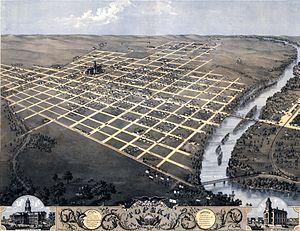 Topeka, Kansas - 1869 bird's eye illustration of Topeka