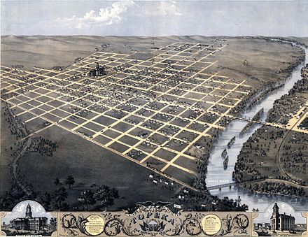 An 1869 bird's-eye illustration of Topeka