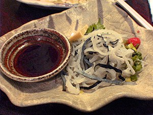 Ponzu - Ponzu shoyu (left) and fugu.