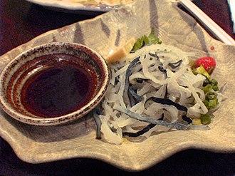 Ponzu - Ponzu shoyu (left) and fugu.