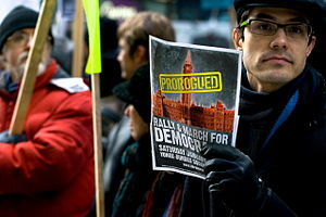 2010 Canada anti-prorogation protests - A group of protesters arrived outside the C.D. Howe Institute in downtown Toronto on 20 January to voice their discontent with Stephen Harper and his prorogation of parliament.
