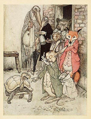 "The Tortoise and the Hare - ""The Tortoise and the Hare"", from an edition of Caleb's Fables illustrated by Arthur Rackham, 1912"
