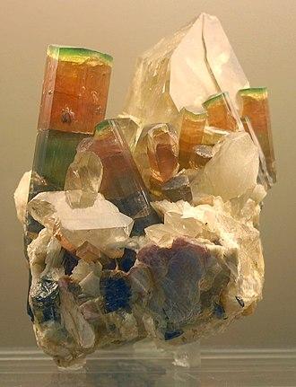 Tourmaline - Tri-color elbaite crystals on quartz, Himalaya Mine, San Diego Co., California, US