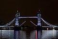 Tower Bridge from HMS Belfast, white lighting, bridge open.jpg