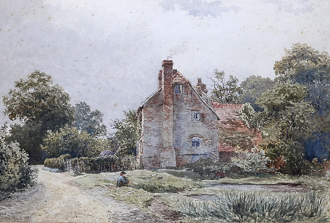 Towerhill Manor, as portrayed by Lewis Pinhorn Wood in 1880, was bought by Sir Edward Bray of Vachery in 1550 and remained in the Bray family until 1972.