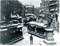 Traffic in Scollay Square. Winthrop Statue at lower left prior to moving (19182277135).jpg