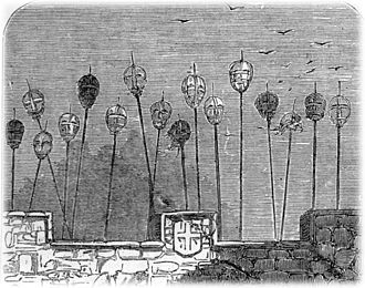 Crime - The spiked heads of executed criminals once adorned the gatehouse of the medieval London Bridge.