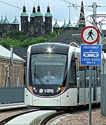 Tram approaching Murrayfield Stadium tram stop (geograph 4017274).jpg