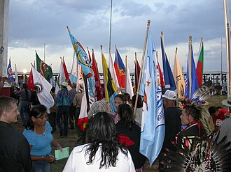 Cheyenne River Indian Reservation - Tribal flags at Eagle Butte