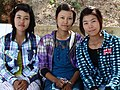 Trio of Young Women at Shittaung Paya - Mrauk U (Myuhaung) - Arakan State - Myanmar (Burma) (12231519693).jpg