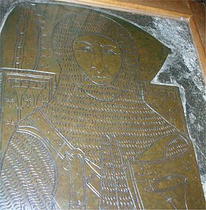 Monumental brass - Sir Roger de Trumpington in Trumpington, Cambridgeshire