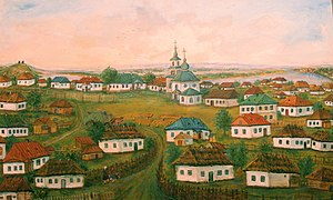 Wooden churches in Ukraine - 19th-century view of village of Trypillia and its wooden church, prior to the damming of the Dnipro river (Regional Archeological Museum).