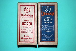 Elmer T. Cunningham - E.T. Cunningham versus RCA Tube cartons after the 1920 RCA Lawsuit against Audio Tron Sales. Notice that the box dimensions and art work layout are similar.