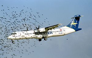 Tuninter Flight 1153 - TS-LBB, the aircraft involved in the accident, on final approach into Malta International Airport (2002)