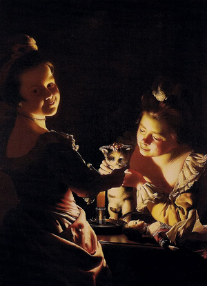Two Girls Dressing a Kitten by Candlelight.png