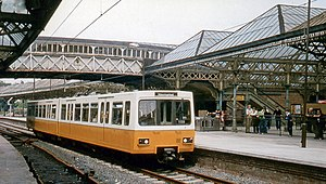 Tyne and Wear Metro - A Metrocar at Tynemouth in 1980, on the first part of the network to be opened.